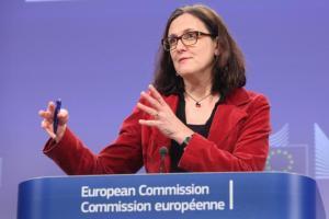 Cecilia Malmström defending TTIP in Riga, Latvia, on June 1st, 2015